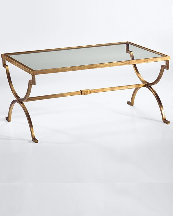 Rectangular Wrought Iron Coffee Table With Distressed Antiqued