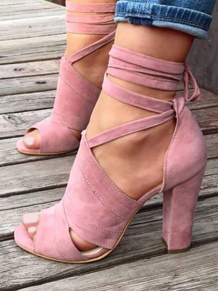 f7036c3fefa Lace Up Block Heels Sandals