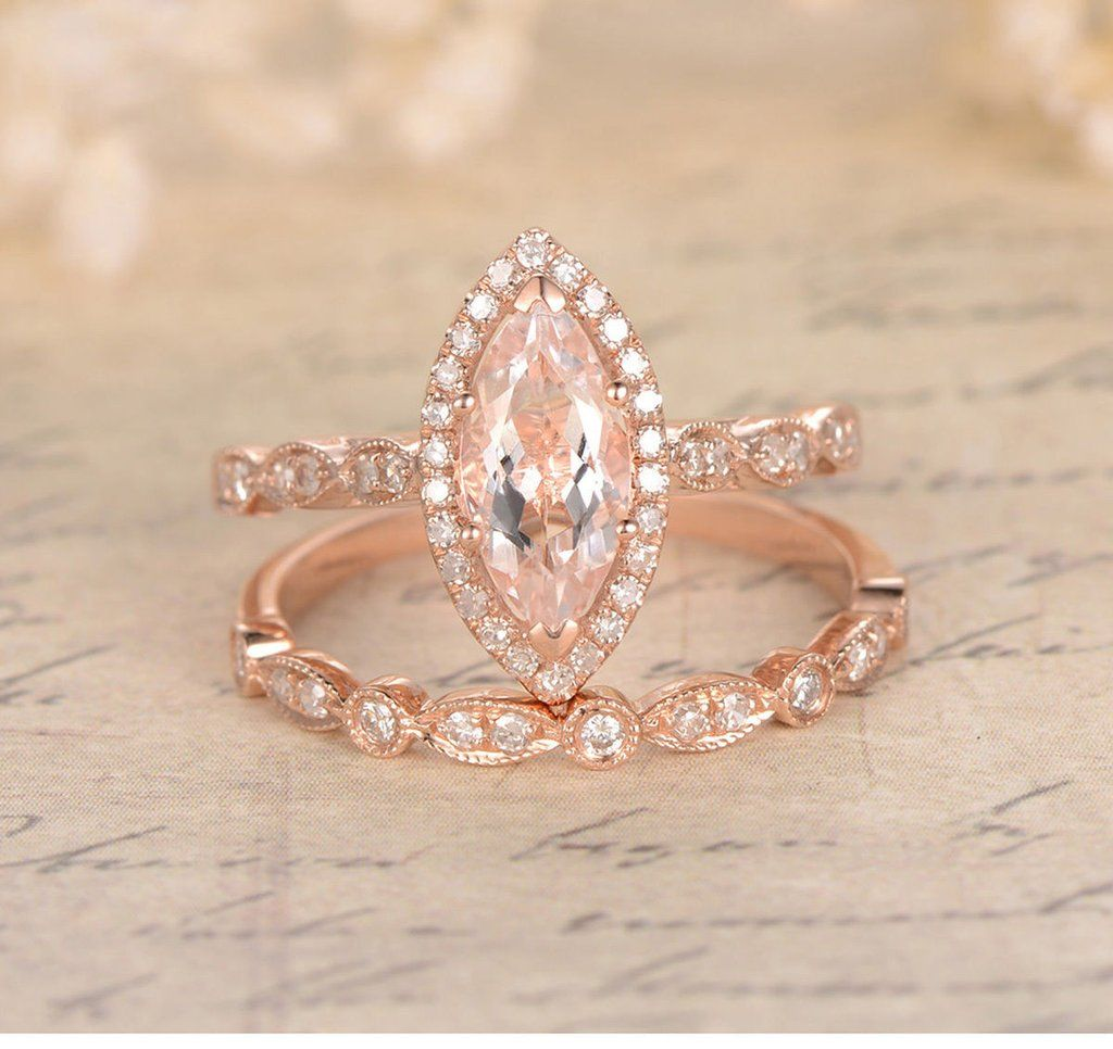 Marquise Engagement Ring Sets Pave Diamond