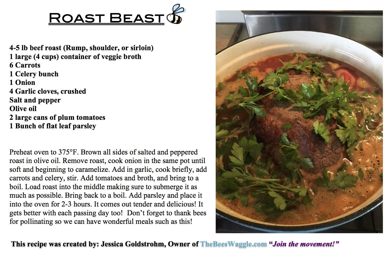 Here's the recipe for our first recorded cooking lesson, scheduled to be released November 29th! Here's a link to print your own: Roast Beast recipe card Enjoy!