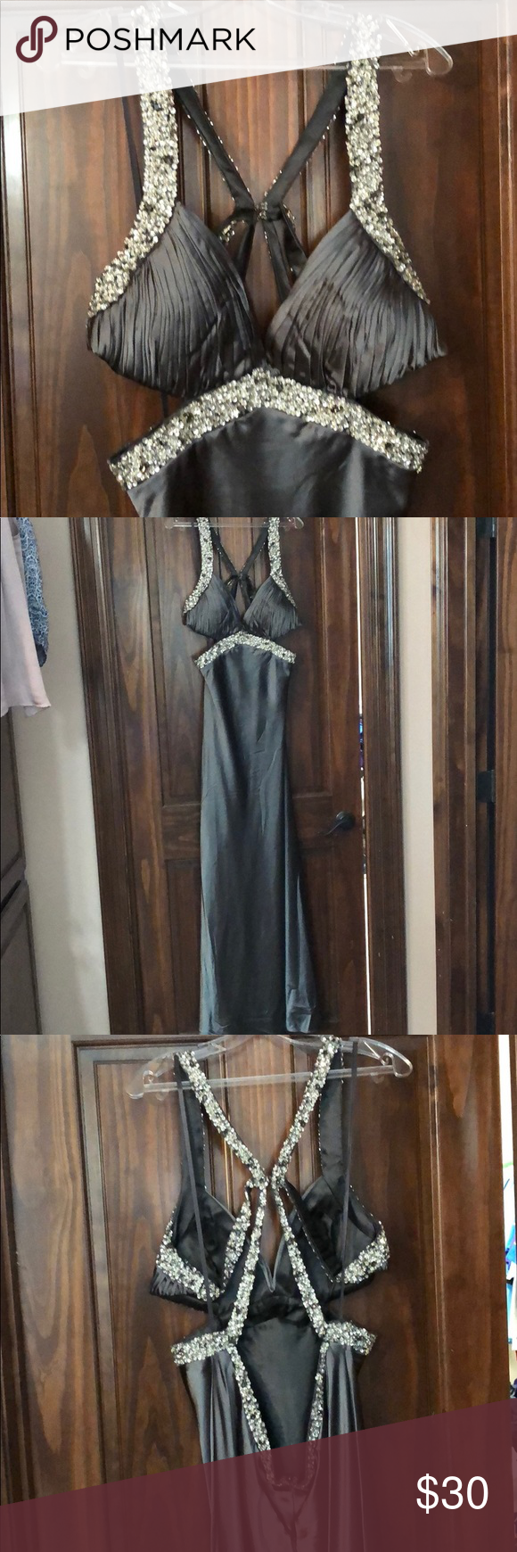 Silver formal dress never worn sequins in front and back floor