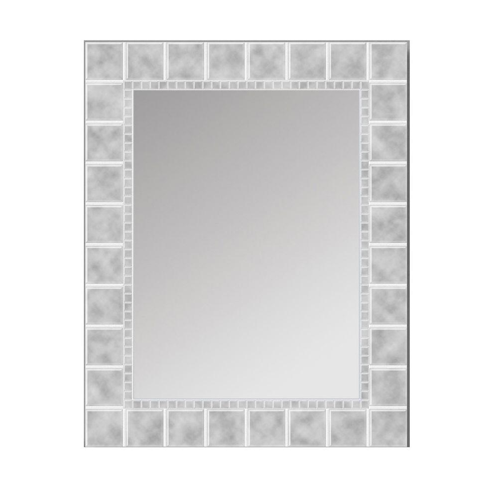 Deco Mirror 36 In L X 24 In W Large Glass Block Rectangle Wall