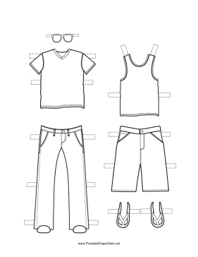 Boy Paper Doll Outfits to Color | Paper doll template ...