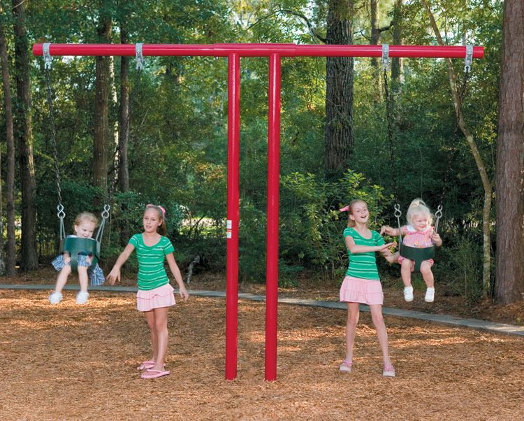 This Commercial Swing Set Is Designed For Toddlers It Has Two
