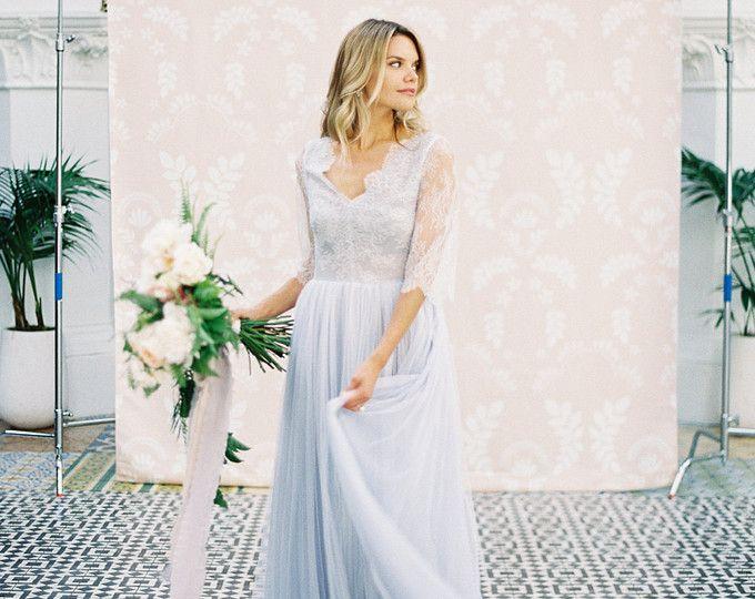 Lavendel-grau Tulle Kleid grau Tüll Brautkleid Hochzeit   Brautkleid ...
