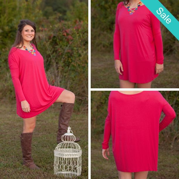 Tons of colors available online and in-store!! #piko #piko1988 #shopbellabird #fall PIKO 1988 Dress - Bright Pink - On Sale for $27.95 (was $29.95)