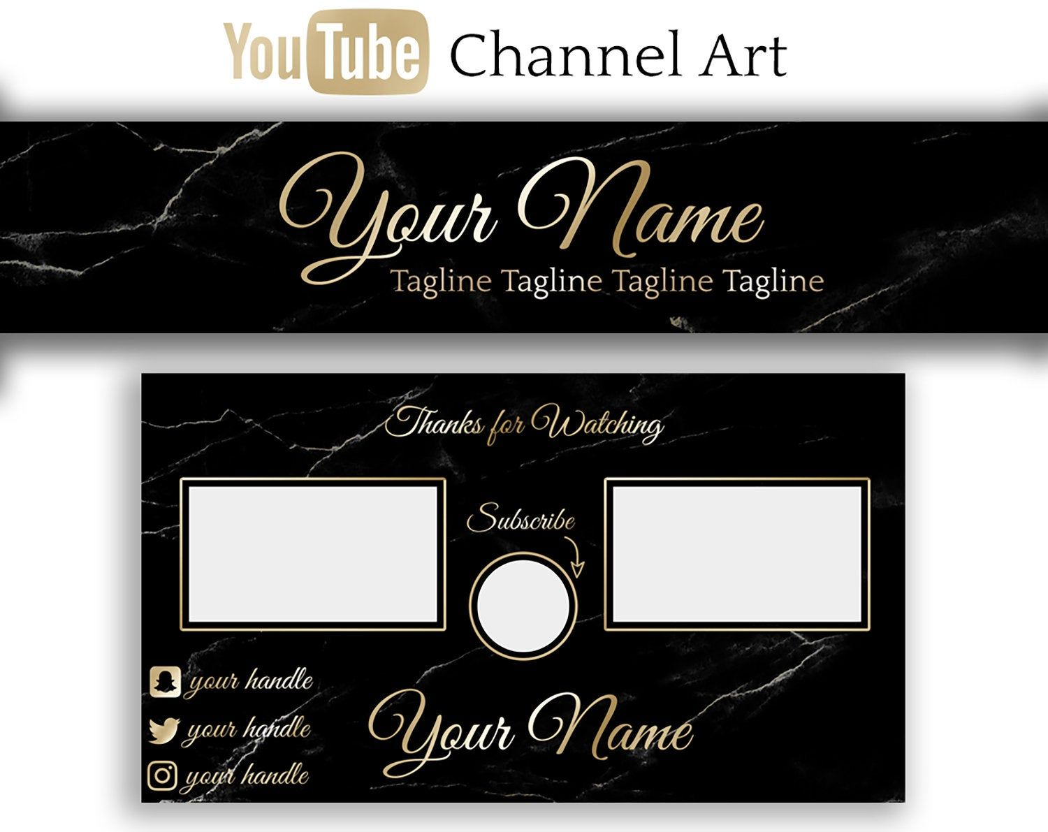 PreMade Gold Black Marble Youtube Channel Art YouTube