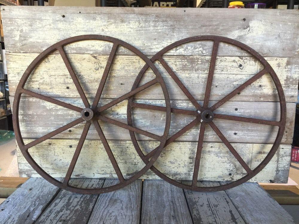 2 Old Vintage Wagon Wheel Cast Iron Metal Antique Farm Decor Set