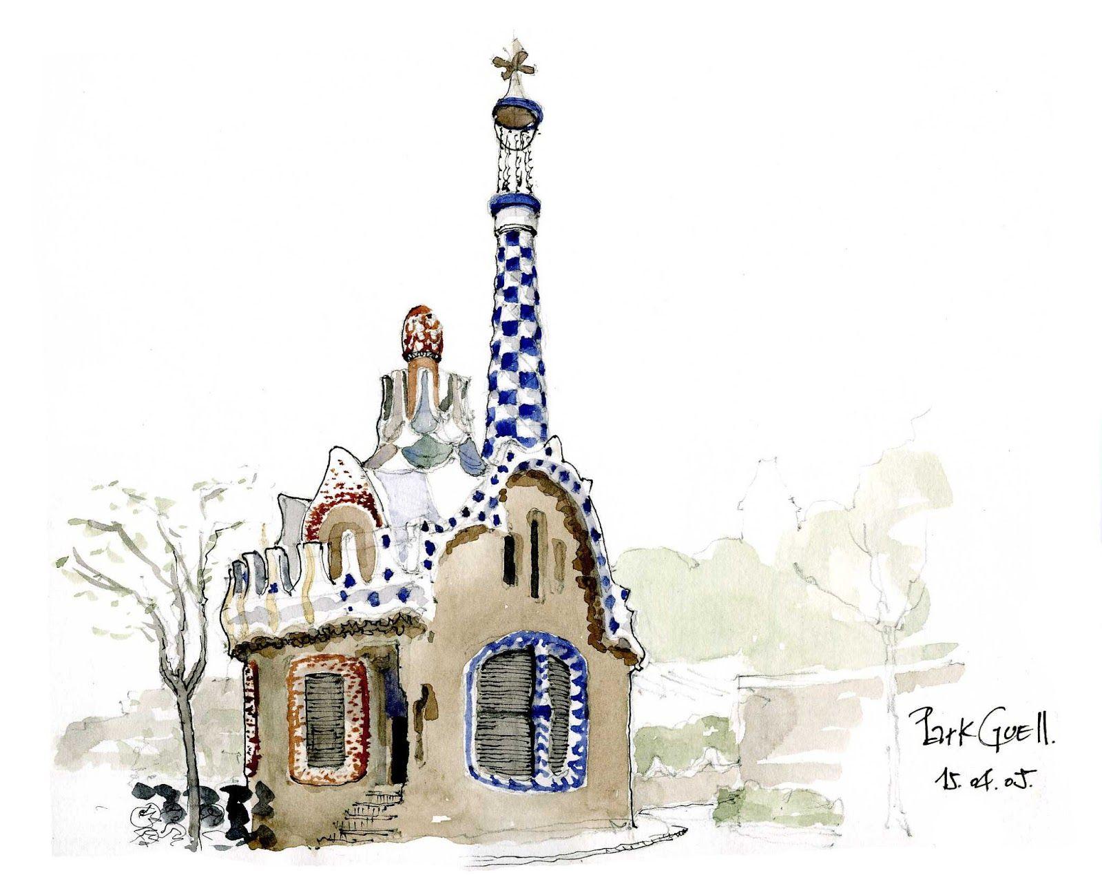 Gaudi Parc Guell Sketches Buscar Con Google A2