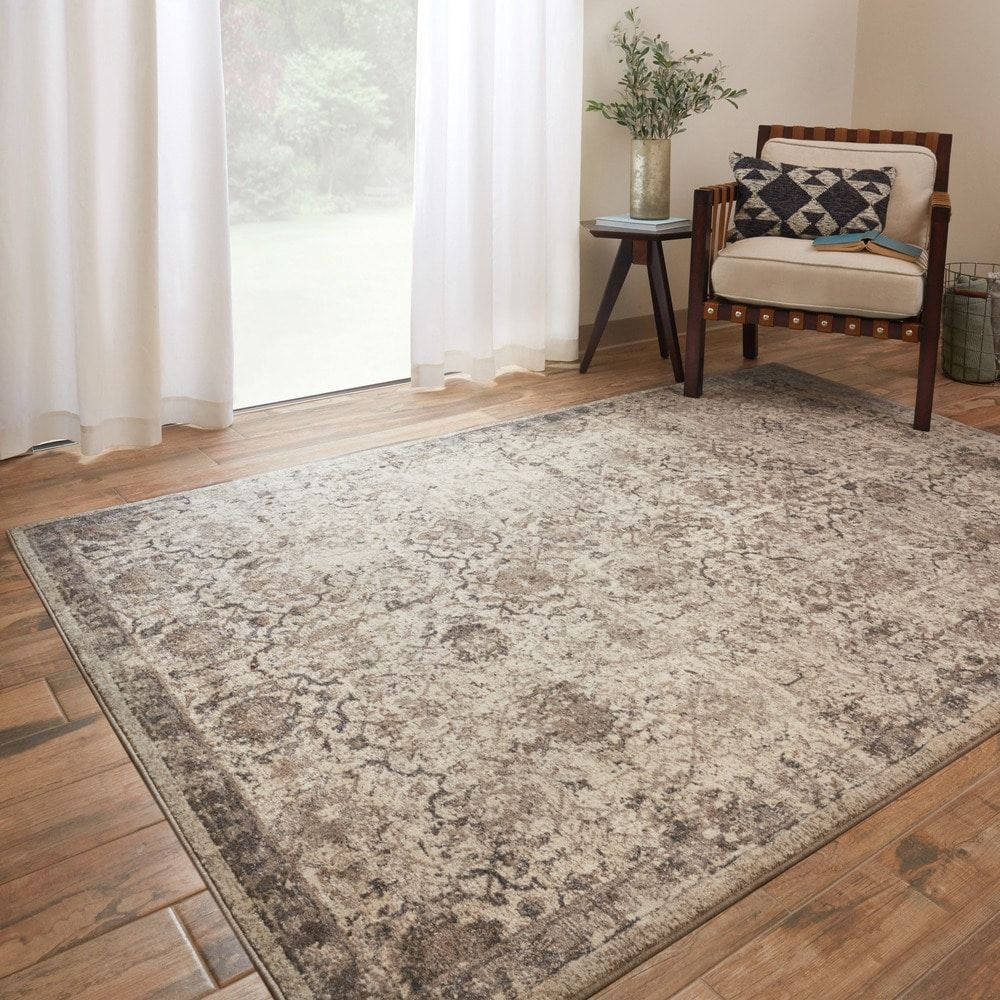 Distressed Faded Grey Colour Small Large Rug Mat Traditional Grey Border Rug
