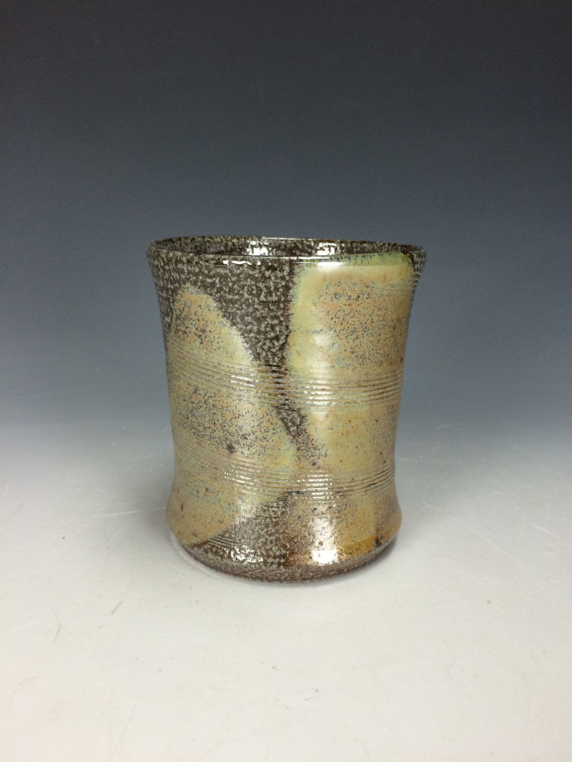 Spotted Brown And Metallic Yellow Tumbler, Clay Handless Mug, Unique Wine  Goblet, Modern