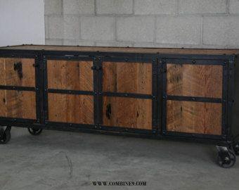 Credenza Rustica Vintage : Rustic credenza steel and reclaimed wood media console vintage