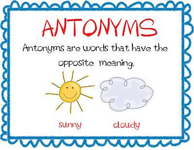 Opposites Preschool Smiling And Shining In Second Grade Antonyms And Synonyms Anchor Charts Antonyms Anchor Chart Antonyms Synonyms Anchor Chart
