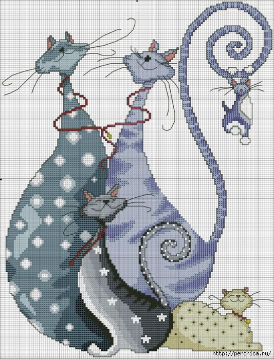 Scheme for embroidery * * Funny cats. Discussion on LiveInternet - Russian Service Online Diaries