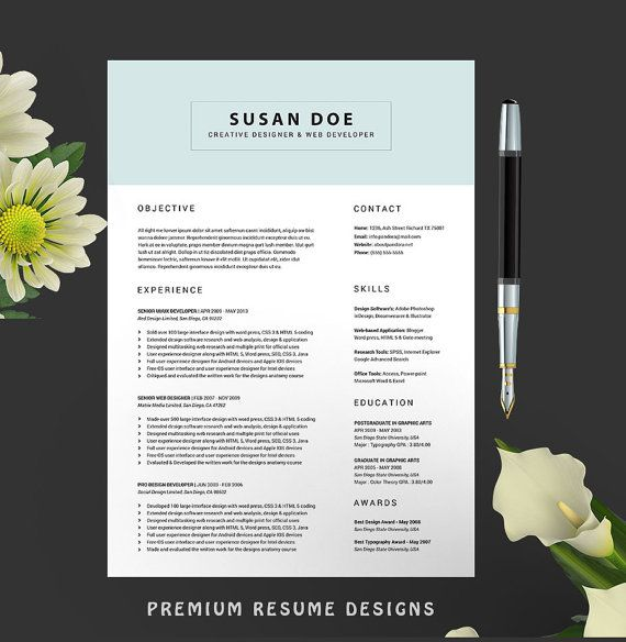 Resume Template 2 Page +cover letter+Reference Page CV Template for