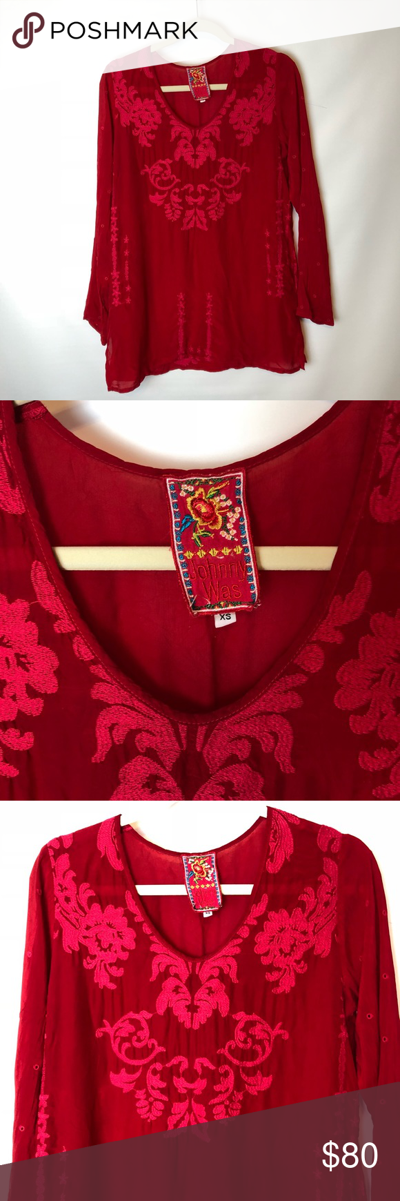 dc5e1c2fa65da Johnny Was red embroidered tunic top size xs Johnny Was red tunic top size  xs. Beautiful floral embroidery detail. Great for a 4th of July look with  white ...