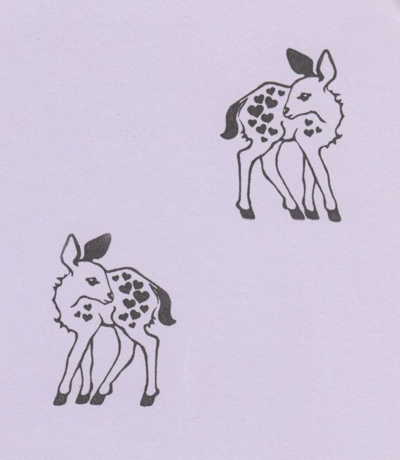 Set of TWO Baby Deer Stamps with Hearts made from by DELIVERABLES, $13.49