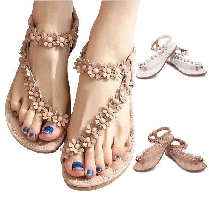 55b0f889c939 Summer Women Bohemia Floral Flat Shoes Beach Sandals Thongs Slippers Flip  Flops  New  FlipFlops  Casual