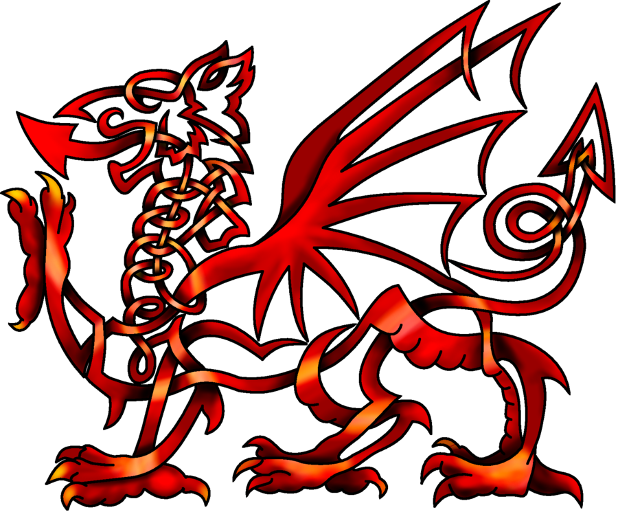 Celtic Knot Welsh Dragon Like The Lines But With Watercolor And