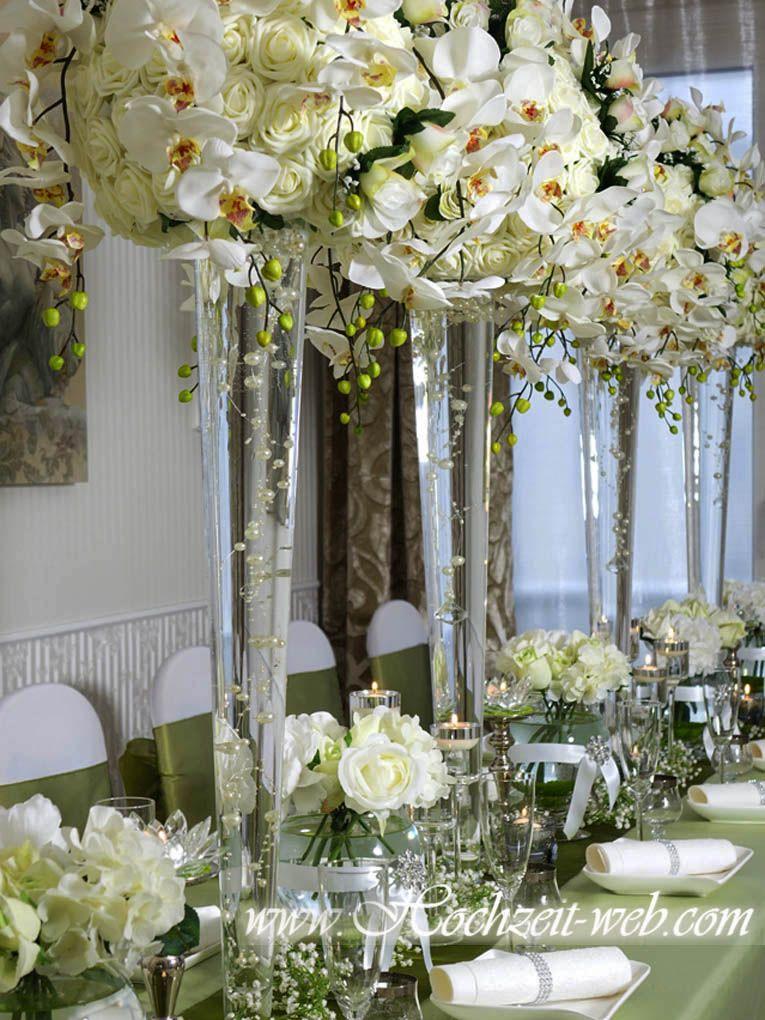 Glas Vase mit Orchideen  Hochzeit Orchidee  Dekoration