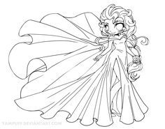 Coloring Books Elsa Chibi Lineart By YamPuffdeviantart On DeviantArt