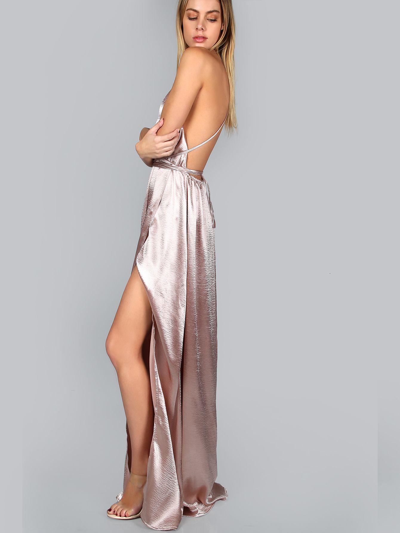 7e5fee9983 Pink Plunge Neck Crisscross Back High Slit Wrap Cami Dress -SheIn(Sheinside)