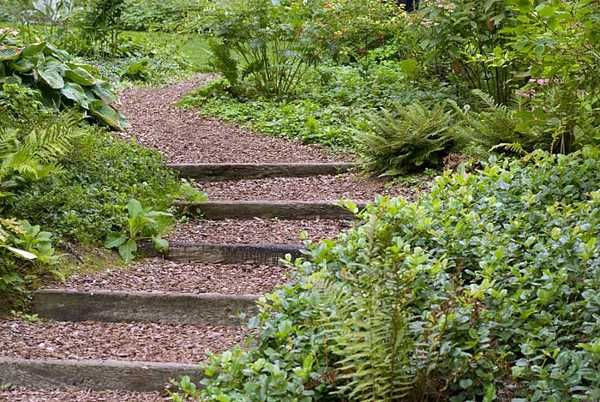 Wooden Outdoor Stairs And Landscaping Steps On Slope Natural Ideas