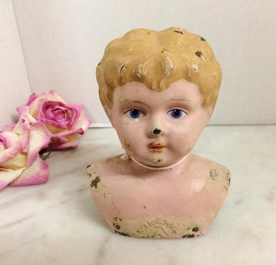 $55.00.  Such a sweet face! Antique #MiNERVA GerMAN  MeTAL DOLL Head. #antiquedollhead #victoriandoll  #antiquetoys #doll  http://www.etsy.com/listing/548506811 …