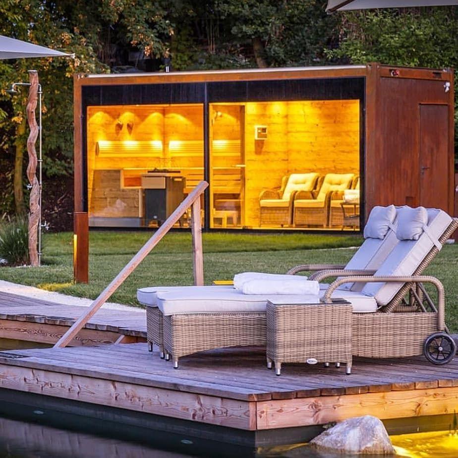 Entspannung Pur In Der Eigenen Sauna Mit Freiem Blick In Den Garten Werbung Stell Dir In Der Momentanen Hitze Doch Mal Vor Bei Schnee In Der Garten Resim