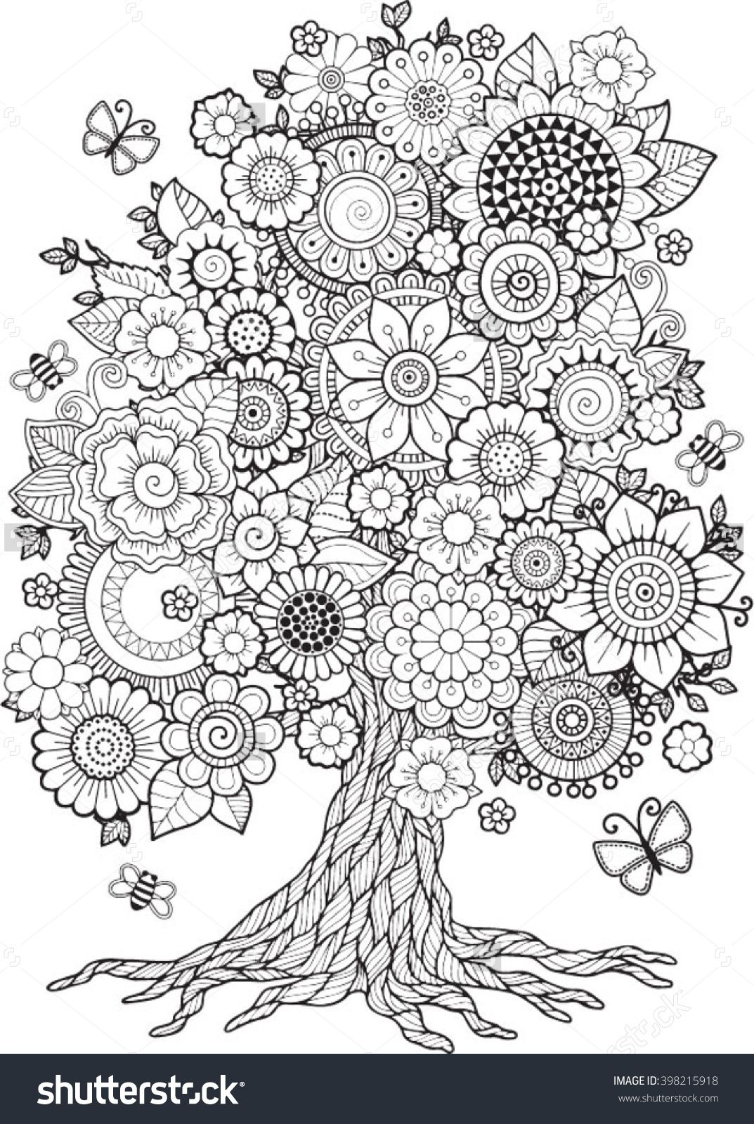 Blossom Tree. Vector Elements. Coloring Book For Adult. Doodles For ...