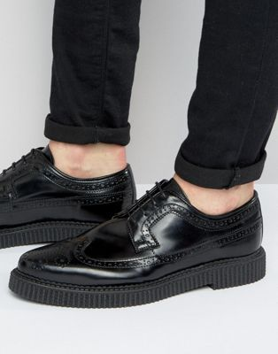 Best Shoes Men ASOS Brogue Shoes In Black Leather With Creeper Sole Black Canada popular shoes