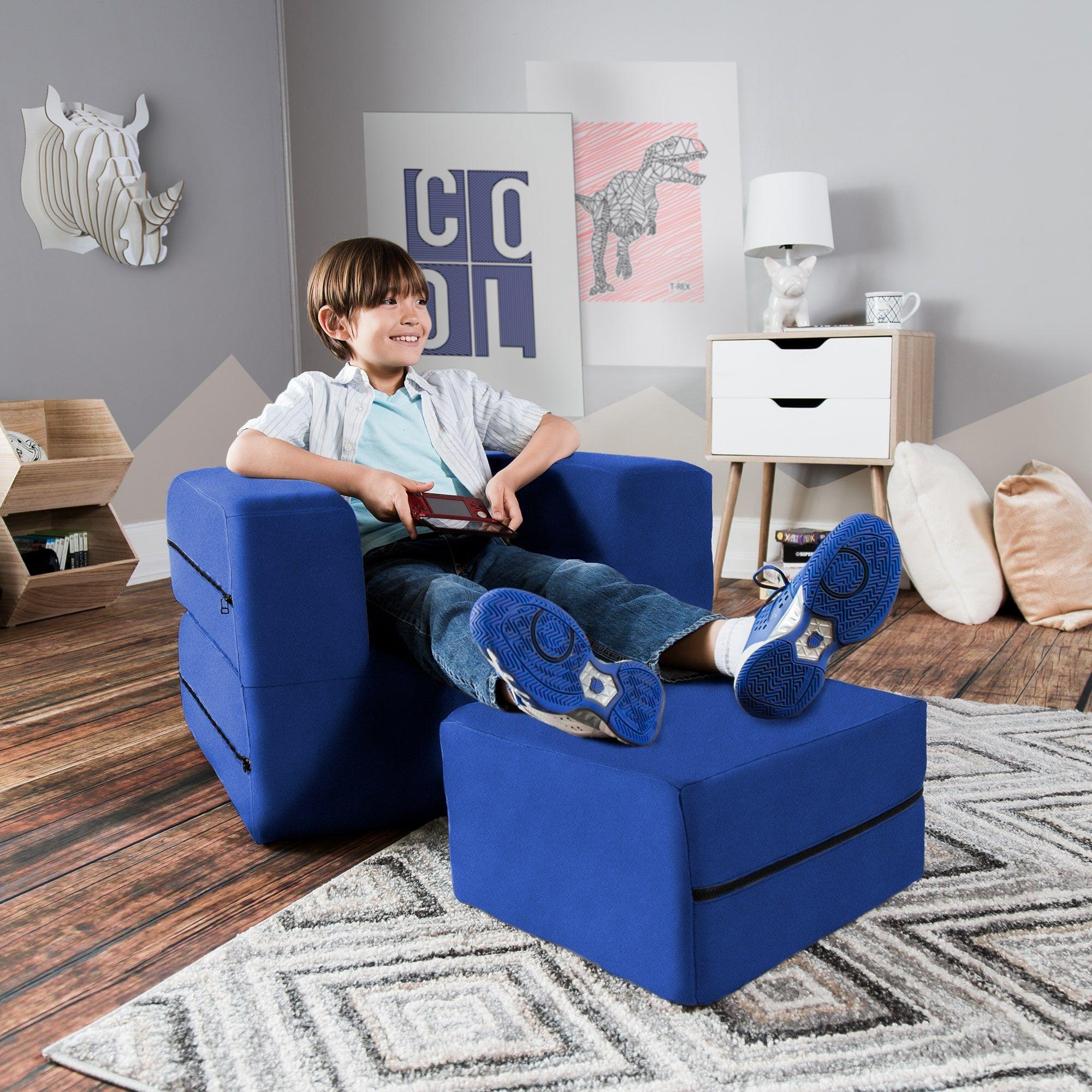 toddler chair and ottoman metal rail ideas jaxx big kids convertible light blue foam