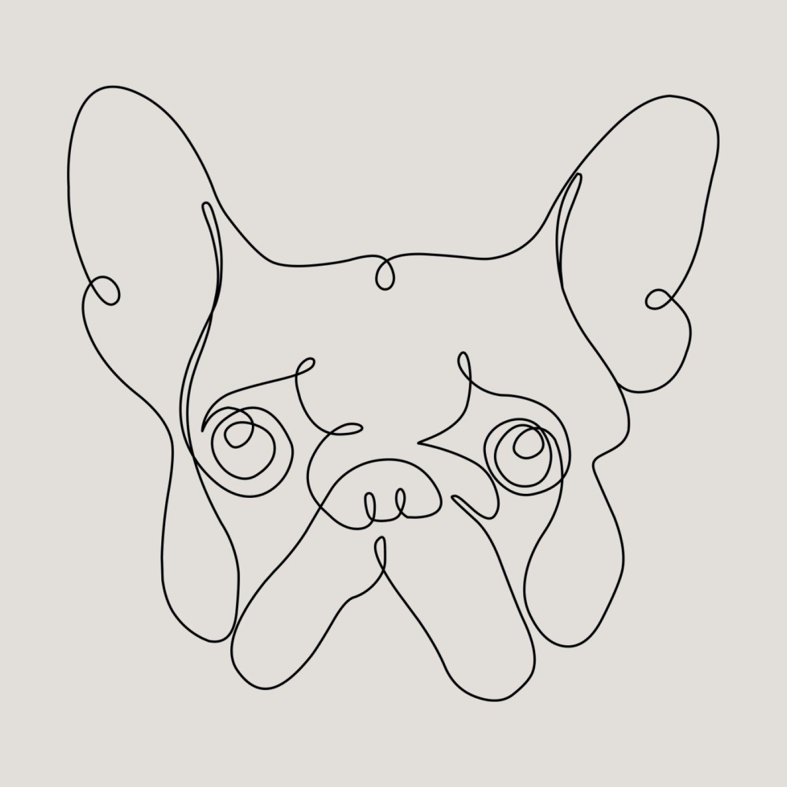 One Line French Bulldog Tkaniny Druk