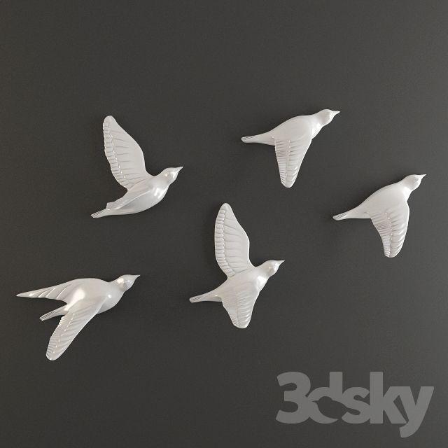 Porcelain Birds Wall Decor