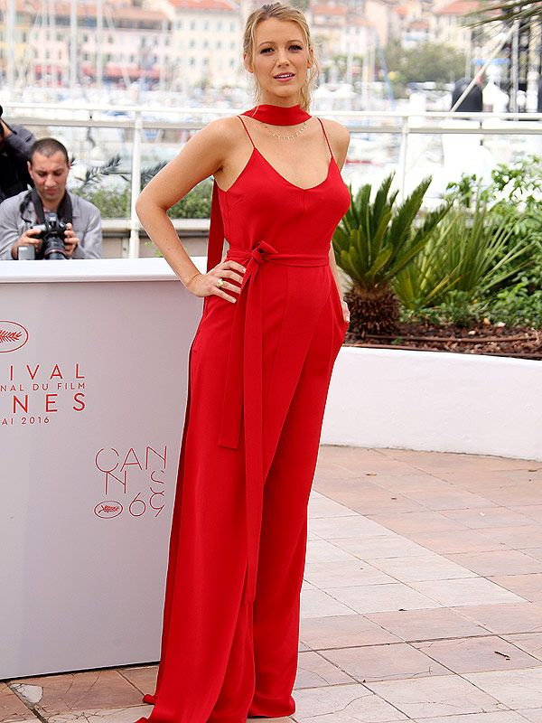 Blake Lively in a bright red wide-leg Juan Carlos Obando ...