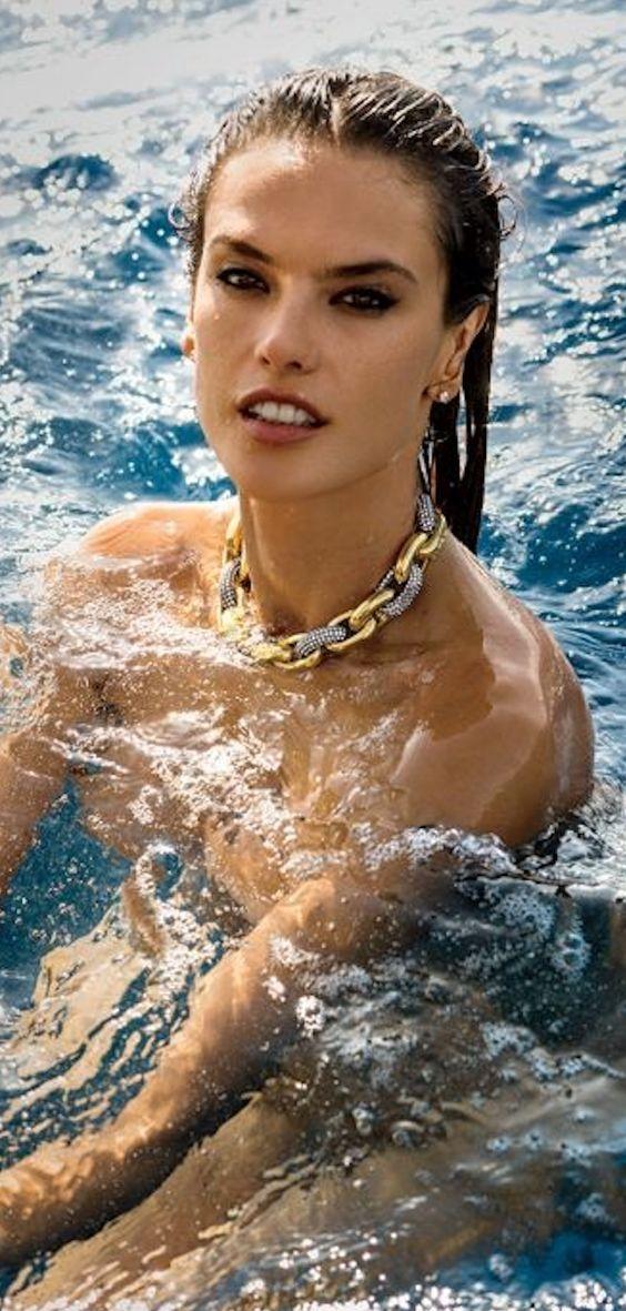 alessandra ambrosio wears a patterned bikini at the beach
