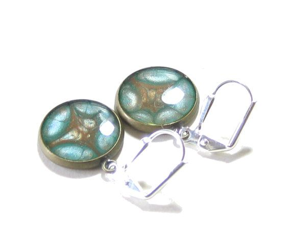 Turquoise Brown Abstract Dangle Earrings Hand by JKCJewelry, $13.00