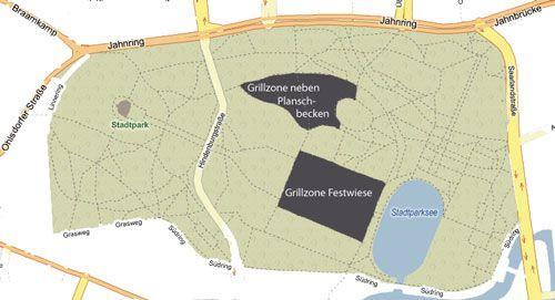 Karte Mit Grillzonen Stadtpark Stadtpark Stadt Und Grillplatz