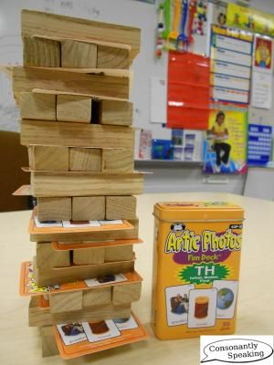 Articulation Jenga-- perhaps could do this with parts of speech, making up sentences, math facts, science review questions... and what's more fun than watching blocks fall down?!?