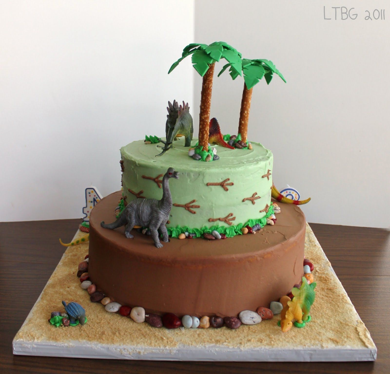 Dinosaur Cake (using Toy Dinosaurs)