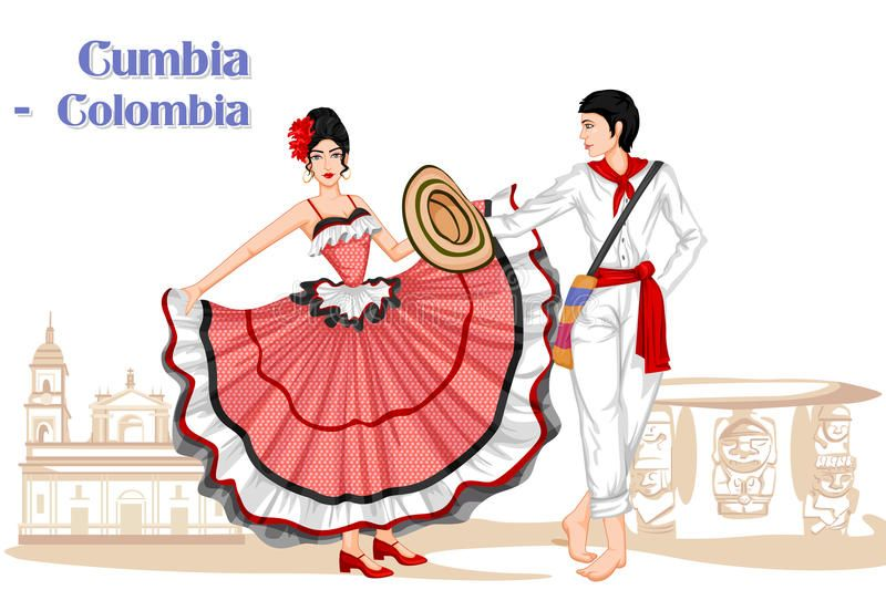 Photo about Vector design of Colombian Couple performing