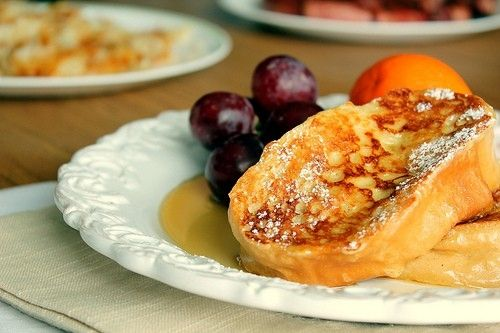 Rum french toast~1/2- 3/4 C half & half ~3large eggs~  2 T sugar ~ 1 t vanilla ~ 1 t cinnamon ~ 1/8 t  nutmeg ~ 2 T rum ~ pinch of salt ~ 6-8 slices   french bread, slightly stale cut thick~  In  small   bowl, whisk together   half & half, eggs, sugar, vanilla, cinnamon, nutmeg, rum, and salt. Soak bread slices in egg mixture for at least 4 - 5 minutes..do not soak more bread than    space for..  cook  until  light golden brown.