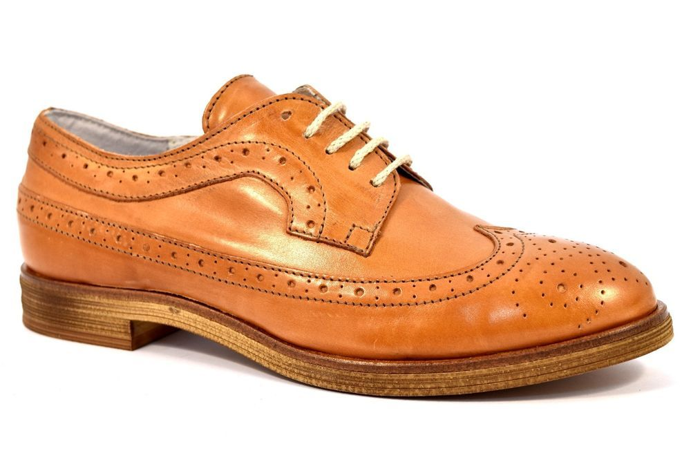 newest 6926b ac216 SHOEMAKER 1306 VITELLO CUOIO Inglesina Francesina Stringata ...
