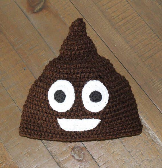 Poop Emoji Crochet Hat - Handmade to Order - Newborn to Adult ...