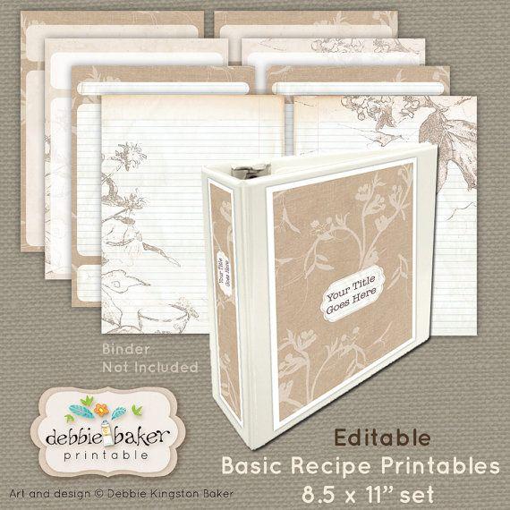 Basic Recipes Set, 8.5 X 11 Pages, Editable, Digital