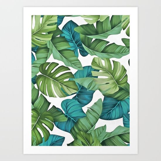Tropical Leaves II Art Print By CatyArte Worldwide Shipping Available At Society6