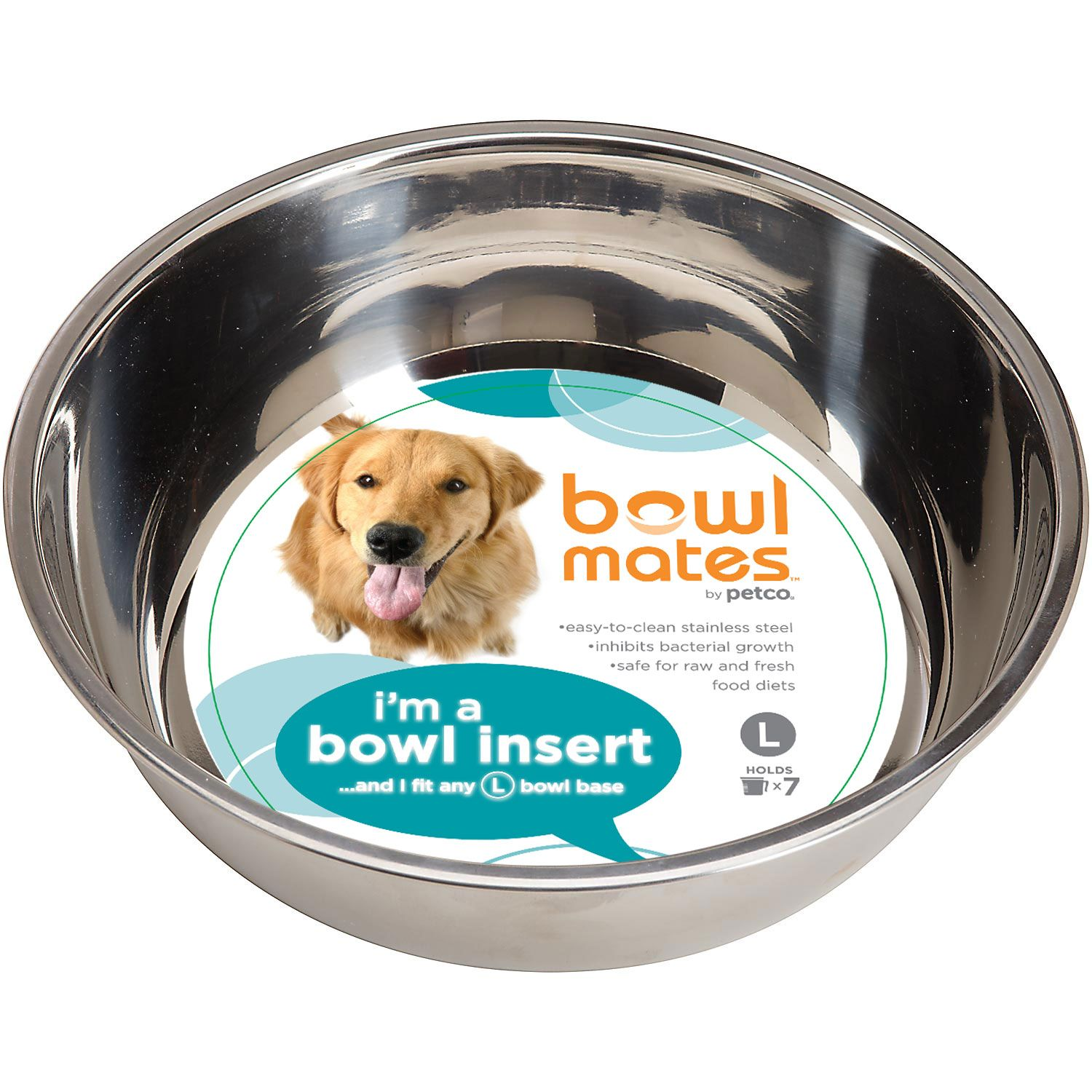 Bowlmates by petco large stainless steel bowl insert