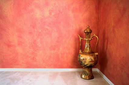 Red And Gold Sponge Painted Room Wall Painting Techniques Faux