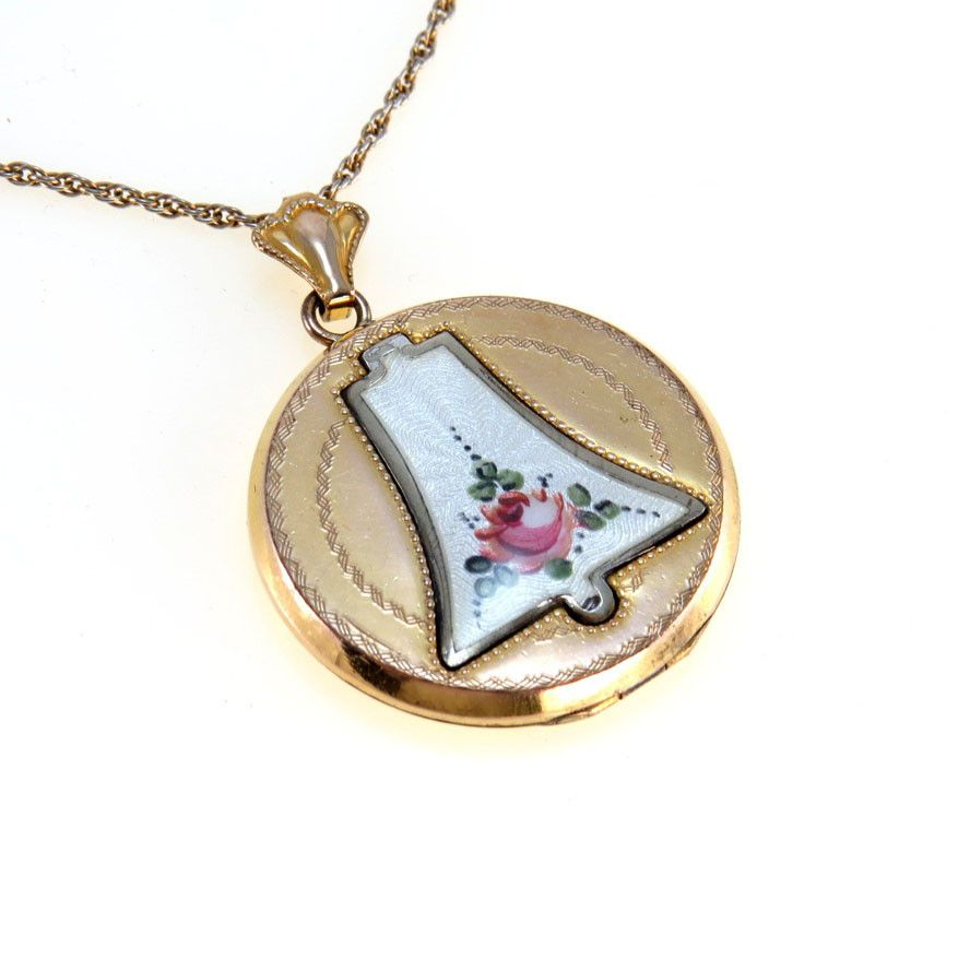 Guilloche enamel round edwardian locket pendant necklace products