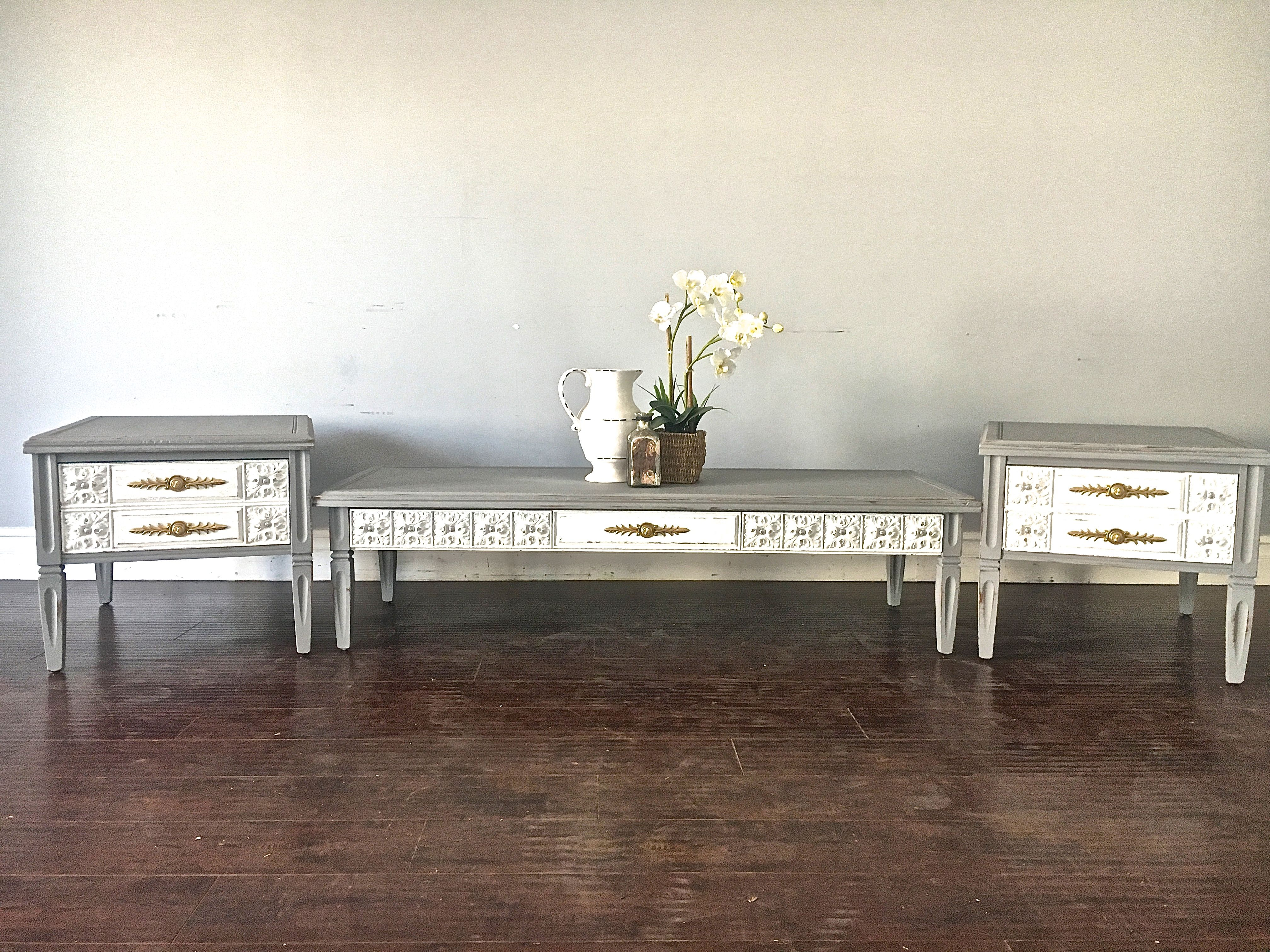 Gray White Gold Coffee Table End Table Set 300 Sold